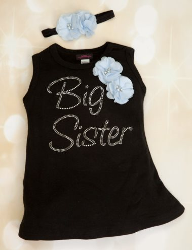 Black Floral Rhinestone Big Sister Bling Cotton Dress and Headband Outfit Set