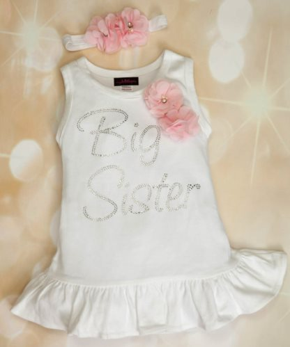White Floral Rhinestone Big Sister Bling Cotton Dress and Headband Outfit Set