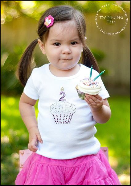 Birthday Cupcake Rhinestone Bling Top