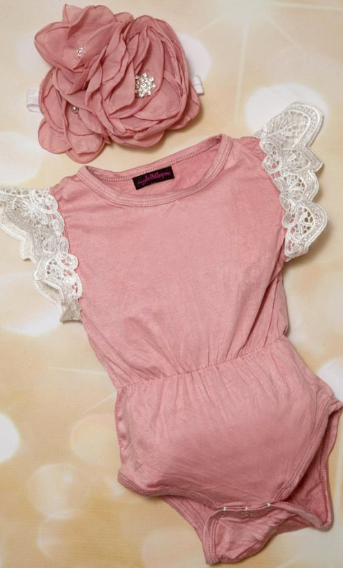 Mauve Cotton Lace Sleeves Romper Outfit with Matching Flower Headband