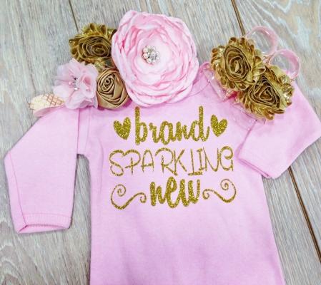 Light Pink Brand Sparkling New Gold Glitter Newborn Gown