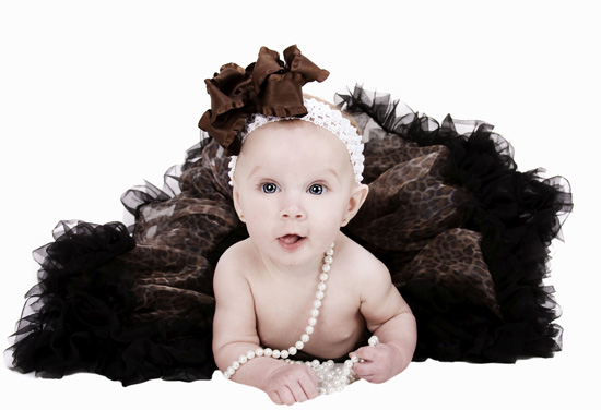 Chocolate Ruffles and Satin Hair Bow Headband