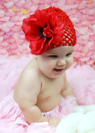 Lovely Red Rose Infant Baby Crochet Hat