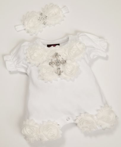 Baby Girls White Shabby Chiffon Rhinestone Cross Bubble Romper and Headband Outfit Set
