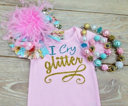 I Cry Glitter Turquoise & Gold Glitter Onesie
