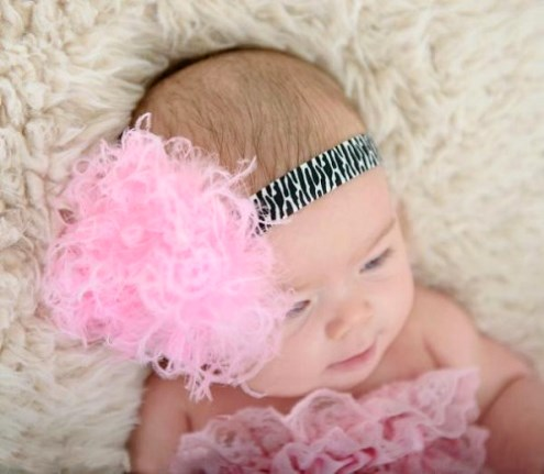 Zebra Flowerette Burst Headband with Pink Curly Marabou Feather Puff