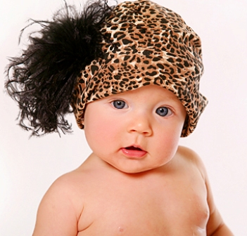 Black Leopard Print Curly Ostrich Feather Hat