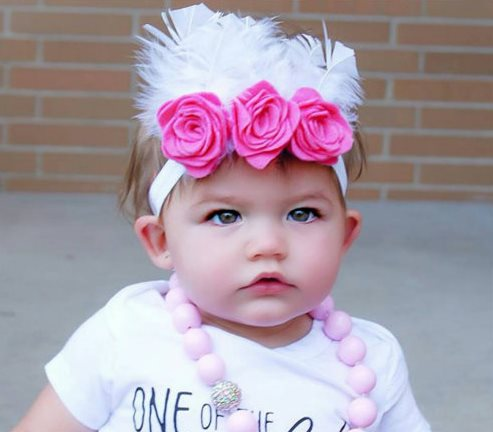Flower Crown Headband with Feathers