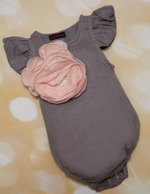Baby Girl Linen Grey One Piece Infant Bubble Romper