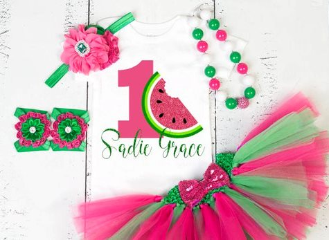 Personalized Hot Pink and Green Watermelon First Birthday Glitter Onesie Tutu Outfit Set