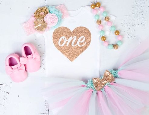 Light Pink Mint and Gold Sparkle First Birthday Onesie Tutu Outfit Set