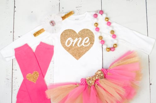 Girls First Birthday Hot Pink Gold ONE Glitter Onesie Tutu Outfit Set