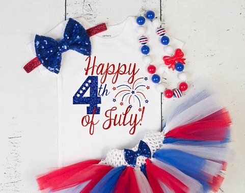 Baby Girls Patriotic Happy Fourth of July Sparkle Glitter Fireworks Onesie Tutu Outfit Set