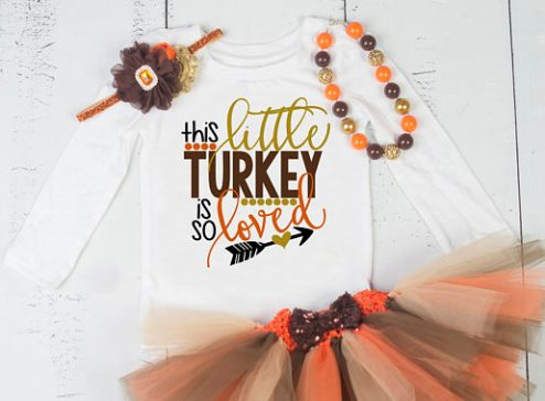Little Turkey Thanksgiving Onesie Tutu Outfit