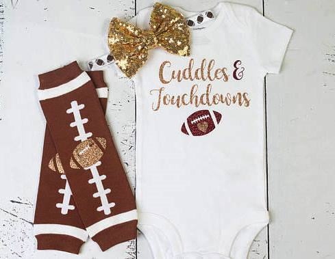 Cuddles & Touchdowns Glitter Football Thanksgiving Onesie Outfit Set