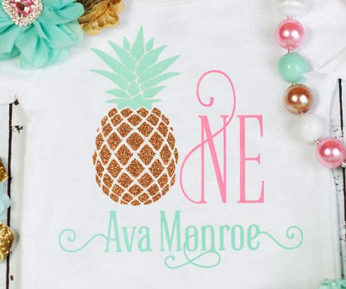 Baby Girls Personalized Glitter Pineapple First Birthday Onesie Tutu Outfit