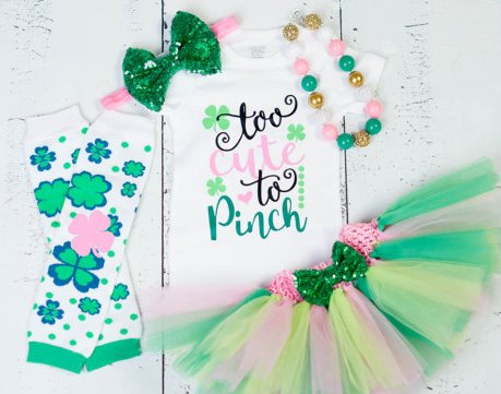 Pink and Green St. Patricks Day Too Cute to Pinch Glitter Clover Tutu Outfit Set
