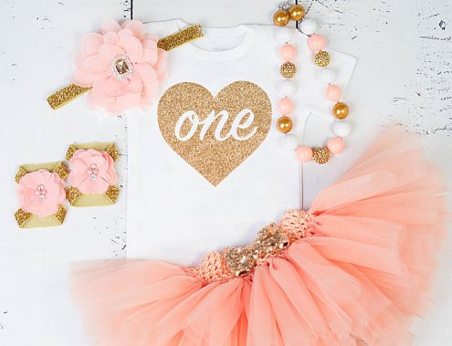 Gold and Peach First Birthday Baby Girl Tutu Outfit
