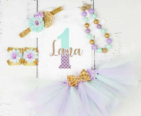 Aqua Gold and Lavender First Birthday Glitter Mermaid Sea Tutu Outfit Set