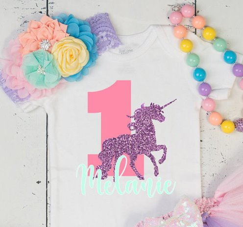 Personalized Unicorn Pastel Rainbow First Birthday Glitter Tutu Onesie Outfit Set