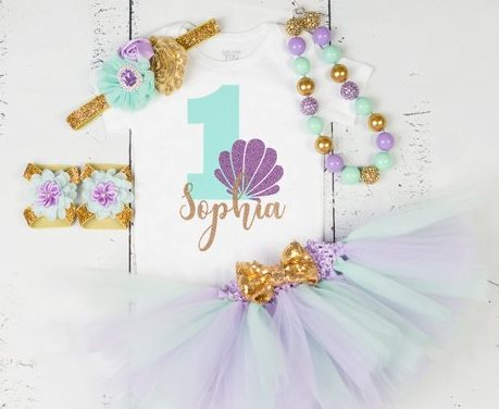 Baby Girls First Birthday Mermaid Seashell Aqua Lavender & Gold Glitter Onesie Tutu Outfit Set