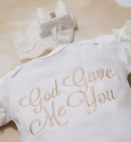 God Gave Me You Baby Onesie with Matching Headband Outfit Set