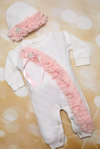 Newborn Layette White and Pink Flower Chiffon Trim Going Home Outfit with Matching Hat