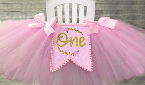 Floral Pink and Gold Baby Girls First Birthday High Chair Tutu Banner