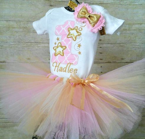 3ebf21971041 Pink   Gold Stars First Birthday Tutu Outfit with Matching Headband