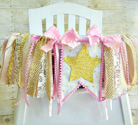 First Birthday Pink and Gold Glitter Star High Chair Banner