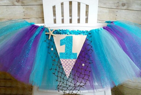 Mermaid First Birthday High Chair Tutu Banner