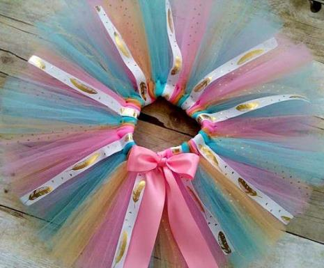First Birthday Boho Chic Gold Feather Tutu