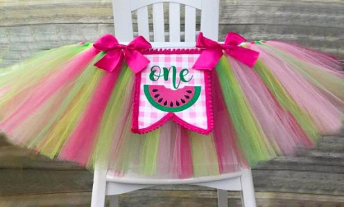 Hot Pink First Birthday Watermelon High Chair Tutu Banner