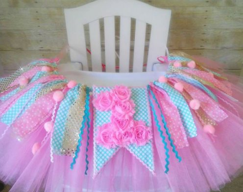 Aqua Pink and Gold Baby Girls First Birthday High Chair Tutu Banner