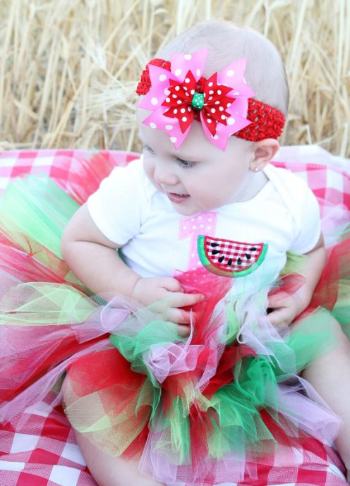 Watermelon Picnic Girls First Birthday Tutu Outfit with Matching Headband