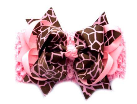 Giraffe Print Girly Pink Glamour Crochet Baby Headband