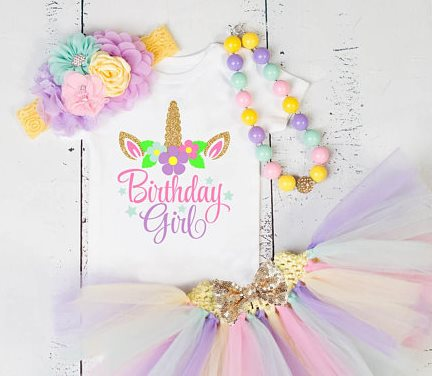 Girls Birthday Pastel Gold Glitter Unicorn Onesie Tutu Outfit Set