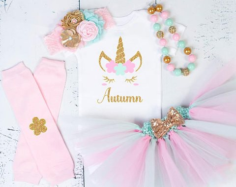 Baby Girls First Birthday Pastel Unicorn Tutu Outfit Set