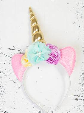 Baby Girls Pastel Flower Gold Unicorn Headband