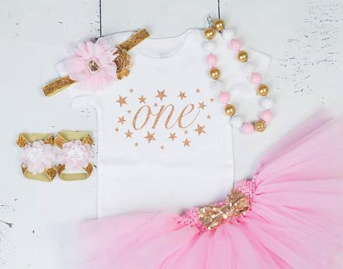 Girls First Birthday ONE Pink and Gold Stars Tutu Outfit