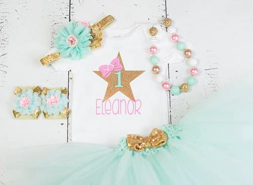 Pink Mint and Gold Star First Birthday Tutu Outfit