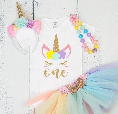 16bdaa02b Magical Pastel Unicorn First Birthday Onesie Tutu Outfit