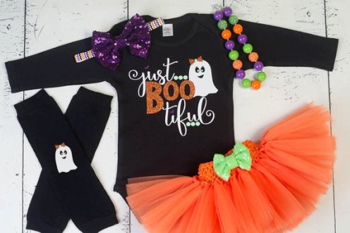 Halloween BOOtiful Ghost Sparkle Glitter Onesie Tutu Outfit