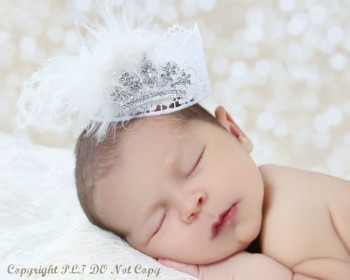 Vintage White Princess Mini Lace Rhinestone Crown Baby Photo Prop