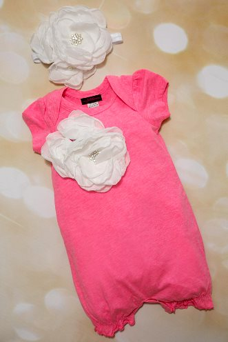 Hot Pink and White Bright Summer Flower Romper Outfit  with Headband