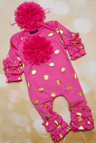 Hot Pink and Gold Polka Dot Infant Layette Baby Romper and Headband Outfit Set $39.00