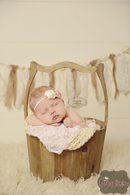 Couture Pink & Cream Rhinestone Rosette Flower Headband