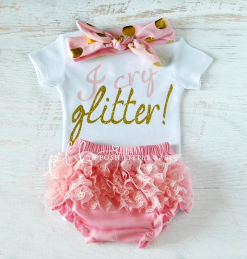 Light Pink and Gold I Cry Glitter Onesie Outfit Set