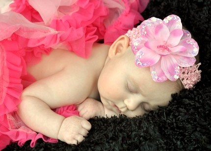 Light Pink Sequin Flower Headband