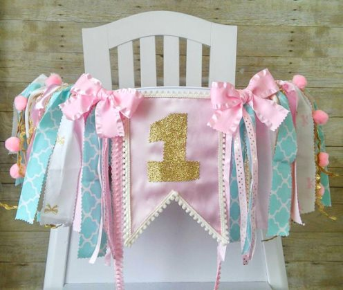 Aqua, Pink & Gold First Birthday Party High Chair Banner